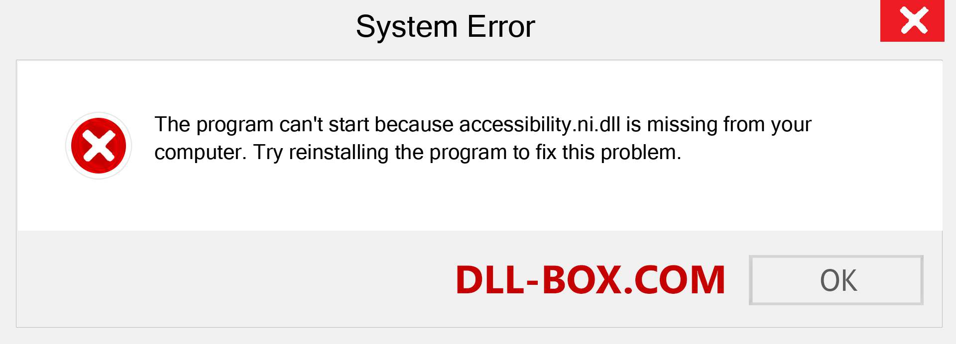 accessibility.ni.dll file is missing?. Download for Windows 7, 8, 10 - Fix  accessibility.ni dll Missing Error on Windows, photos, images
